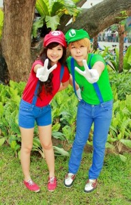 Liao with fellow cosplayer, Magan Aranjuez, as Mario and Luigi