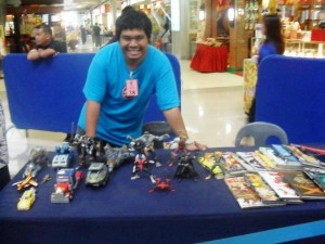 Tidoy with his Transformers, Open Marvel Legends and Graphic Novels at Hobbyfest