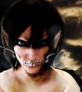 Shino Furusawa in her finished Attack on Titan make up. Photo taken from her Facebook. Photo credits belong to her.